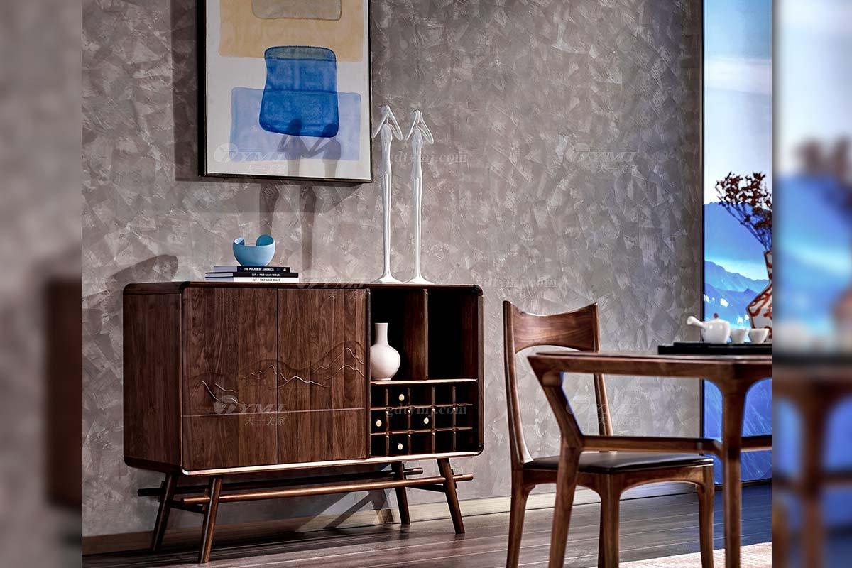 高端别墅家具品牌高档样板间家具轻奢新中式风格黑胡桃实木餐厅家具餐边柜系