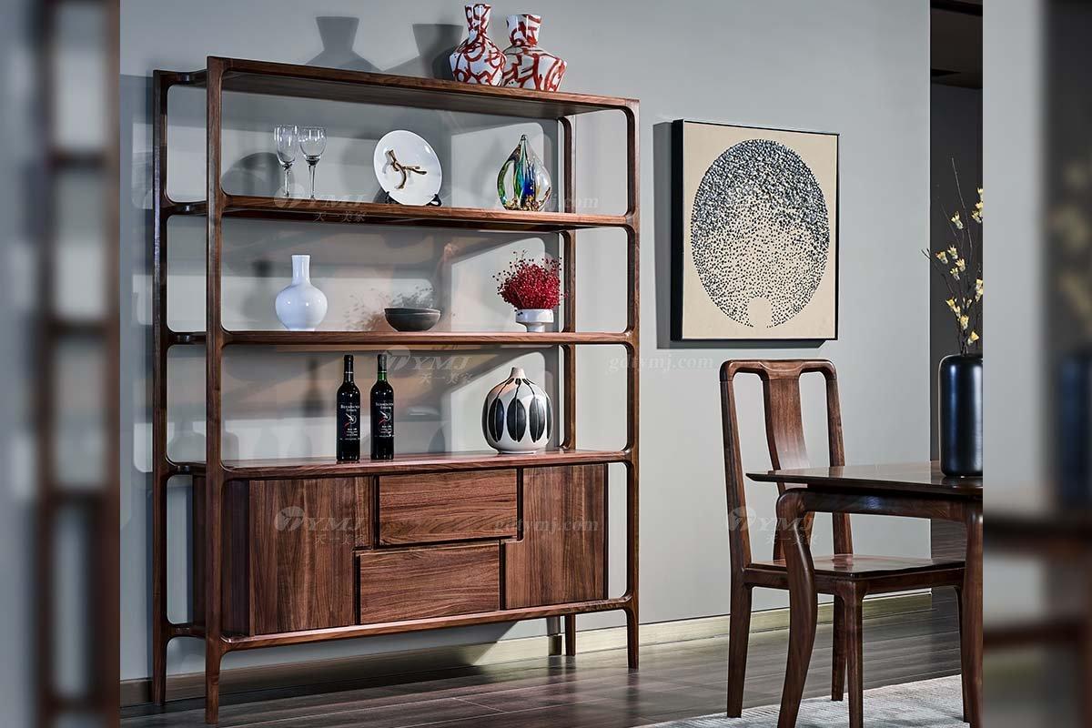 高端别墅家具品牌高档样板房家具轻奢新中式风格黑胡桃实木酒柜系列