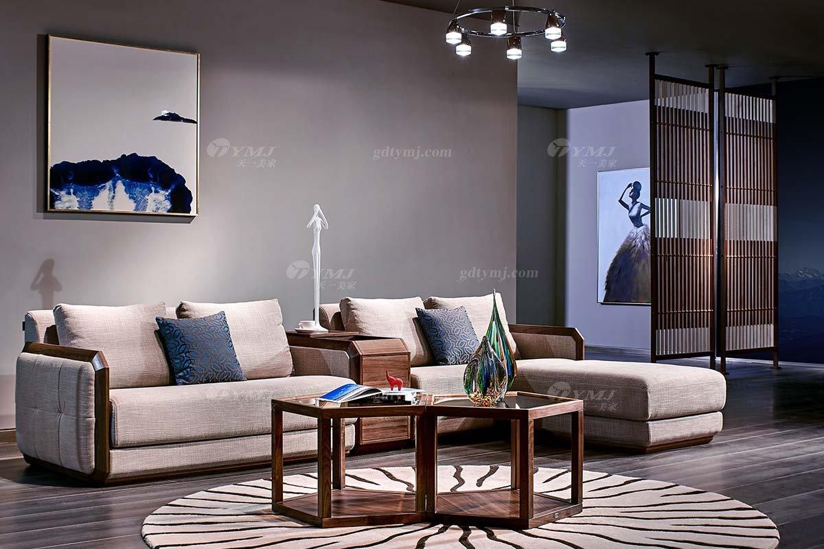 高端别墅会所家具品牌样板房家具轻奢新中式风格黑胡桃高弹高密度海绵优质布