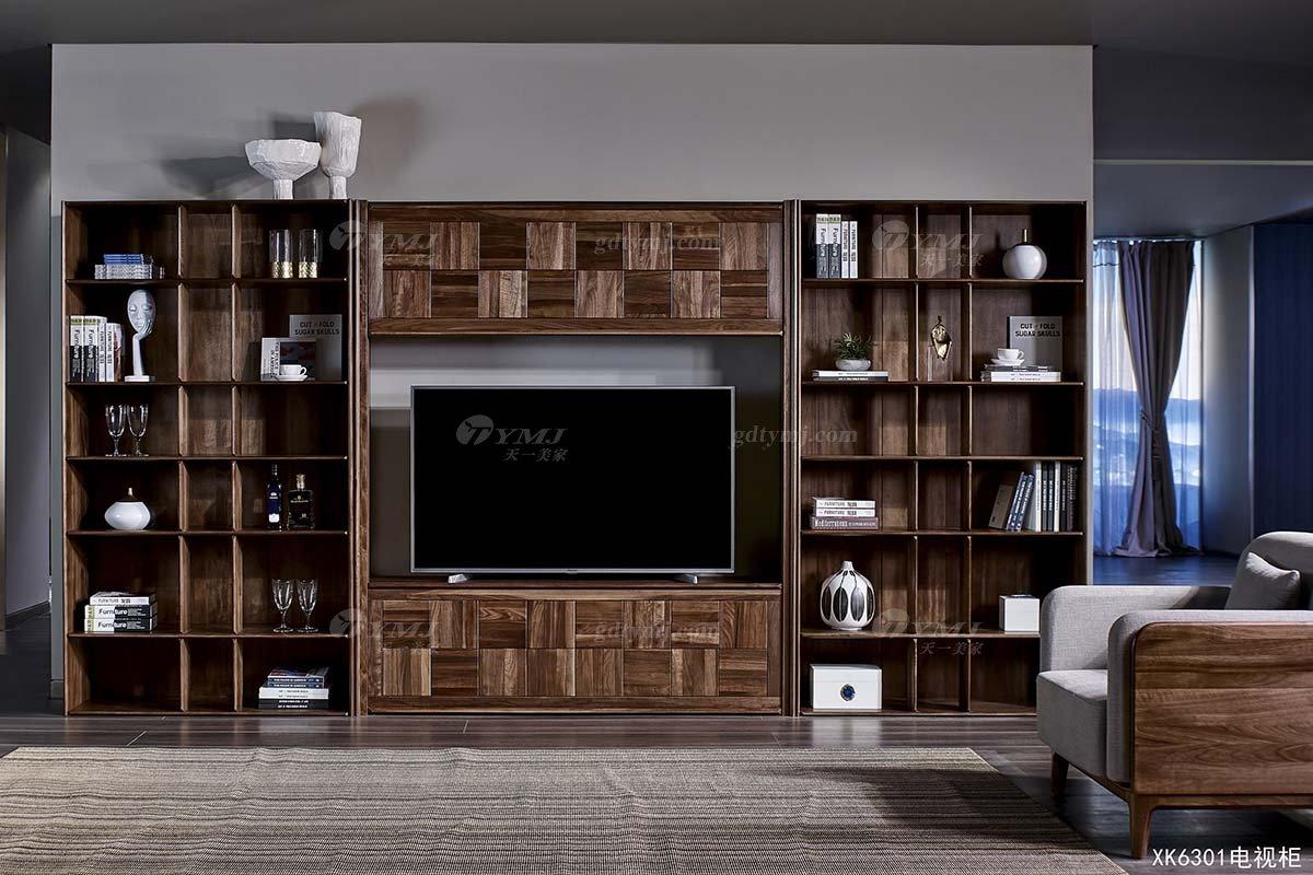 高端别墅会所家具品牌样板房家具轻奢新中式风格客厅黑胡桃实木电视柜系列