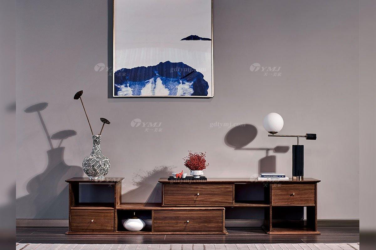 高端别墅会所家具品牌样板间家具轻奢新中式风格客厅黑胡桃实木电视柜系列