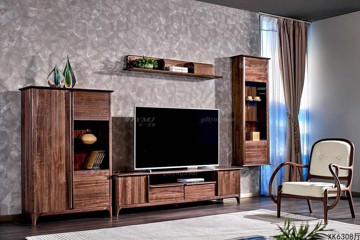 高端别墅会所家具品牌样板间家具轻奢新中式风格客厅黑胡桃实木组合电视柜系