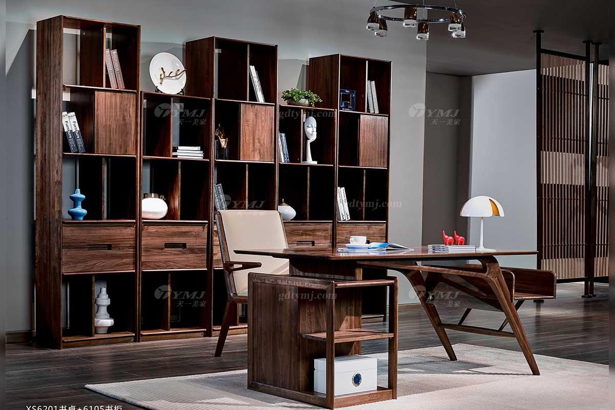 高端别墅会所家具品牌样板间家具轻奢新中式风格书房家具黑胡桃实木书柜书桌