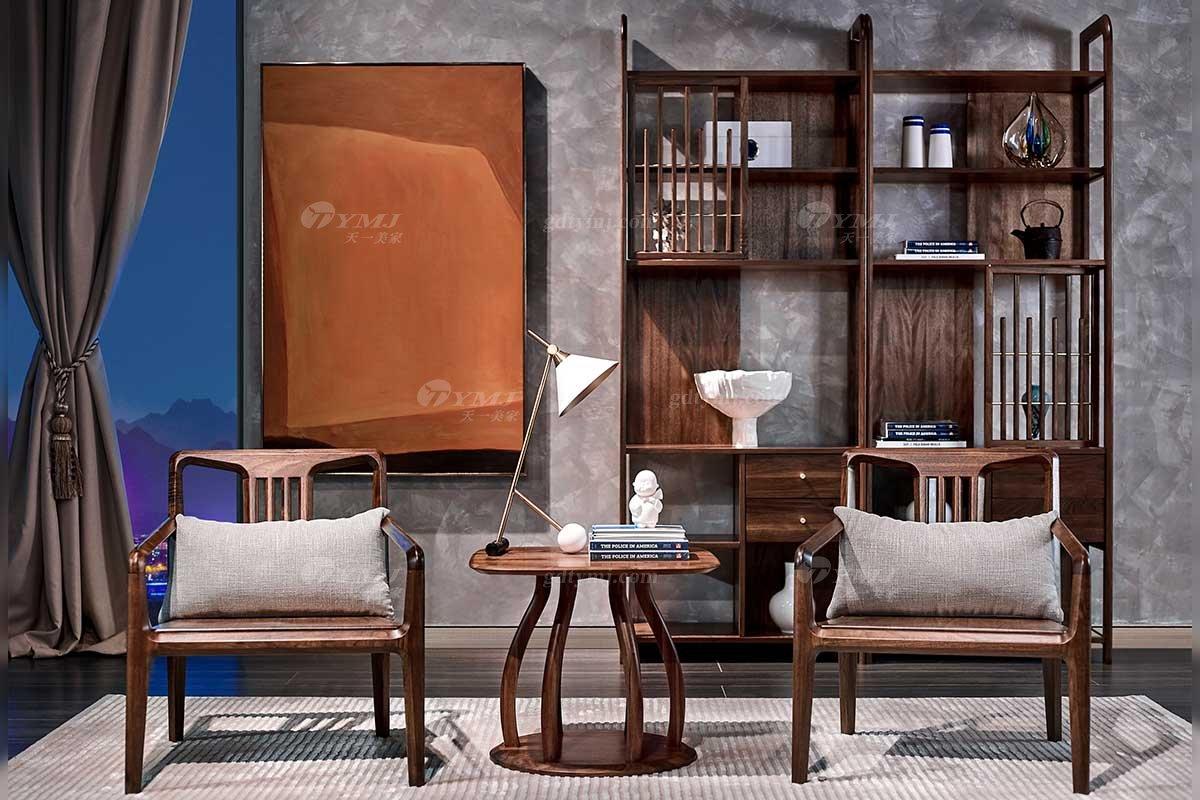 高端别墅会所家具品牌样板间家具轻奢新中式风格家具黑胡桃实木休闲椅系列