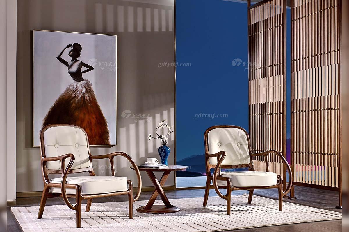 高端别墅会所家具品牌样板间家具轻奢新中式风格家具黑胡桃实木创意形象休闲
