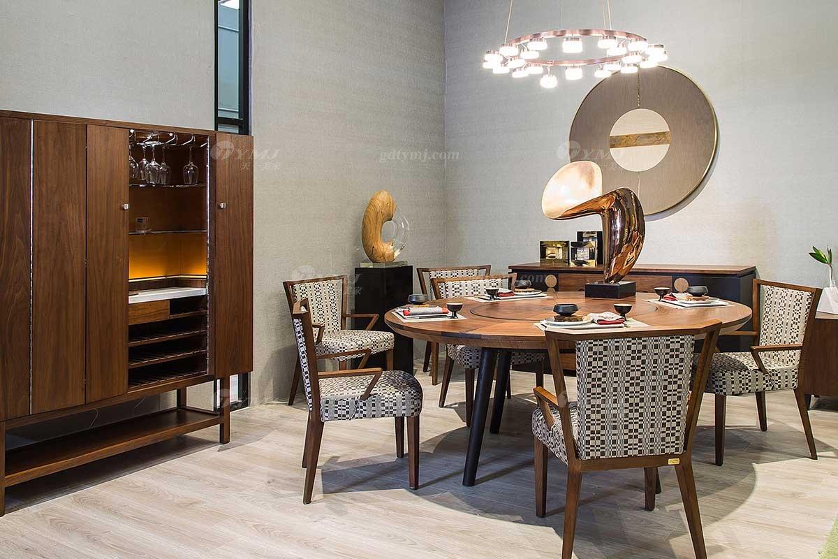 高端别墅会所万博手机网页品牌现代极简餐厅万博手机网页实木餐桌椅系列