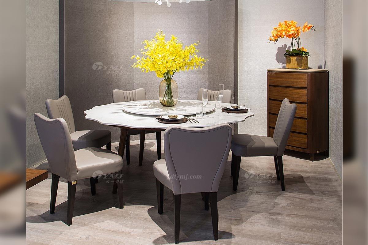 创意别墅会所万博手机网页品牌现代极简北欧餐厅万博手机网页大理石餐桌餐椅系列