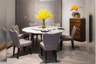 创意别墅会所家具品牌现代极简北欧餐厅家具大理石餐桌餐椅系列