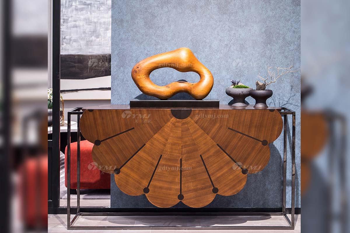高端别墅会所家具品牌现代极简轻奢北欧家具创意胡桃色玄关系列