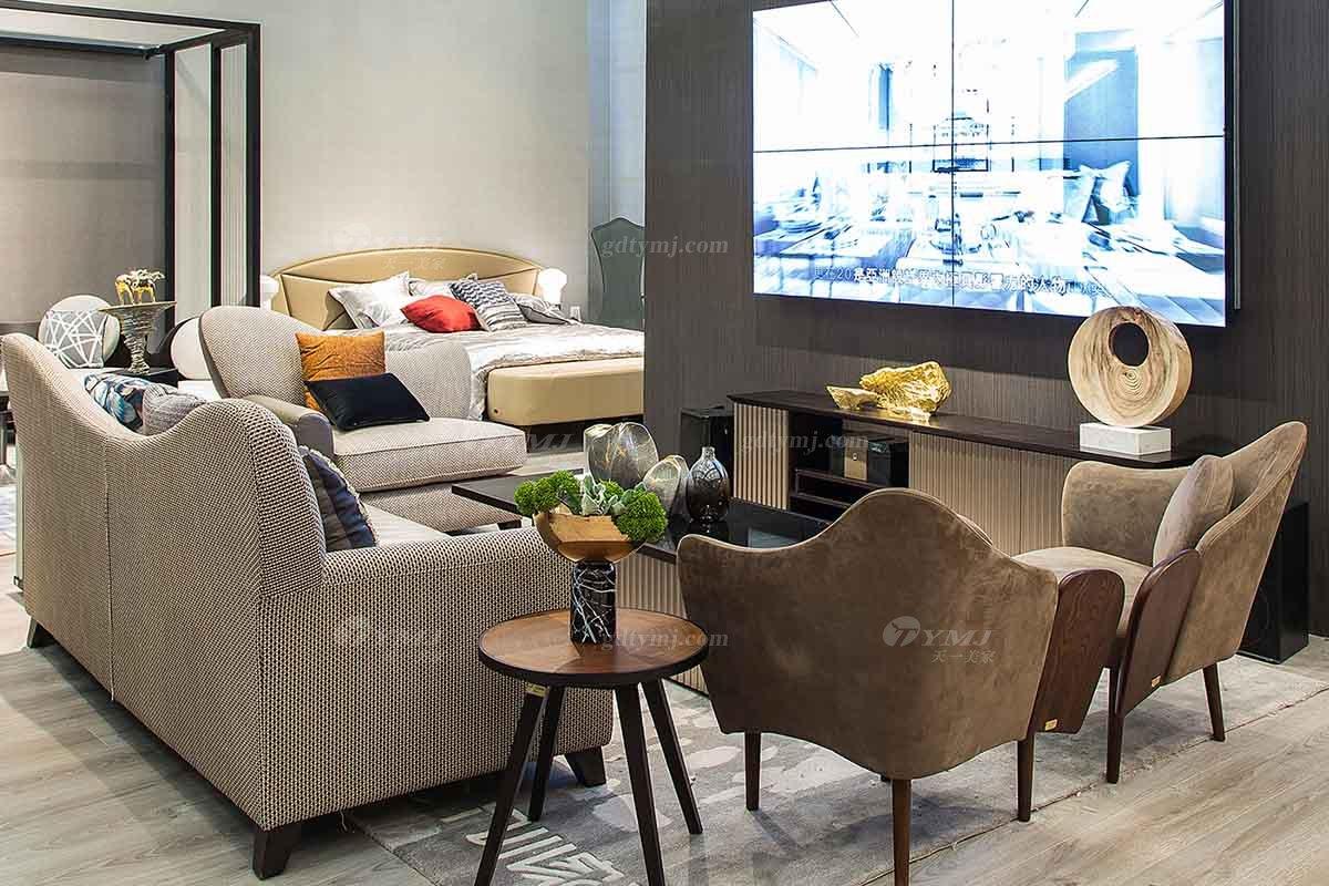 高端别墅会所家具品牌现代极简轻奢北欧家具创意高弹高密度海绵优质布艺客厅