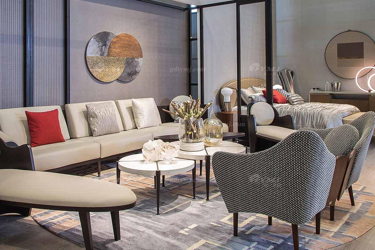 高端别墅会所家具品牌极简轻奢北欧家具创意高弹高密度海绵优质布艺客厅沙发