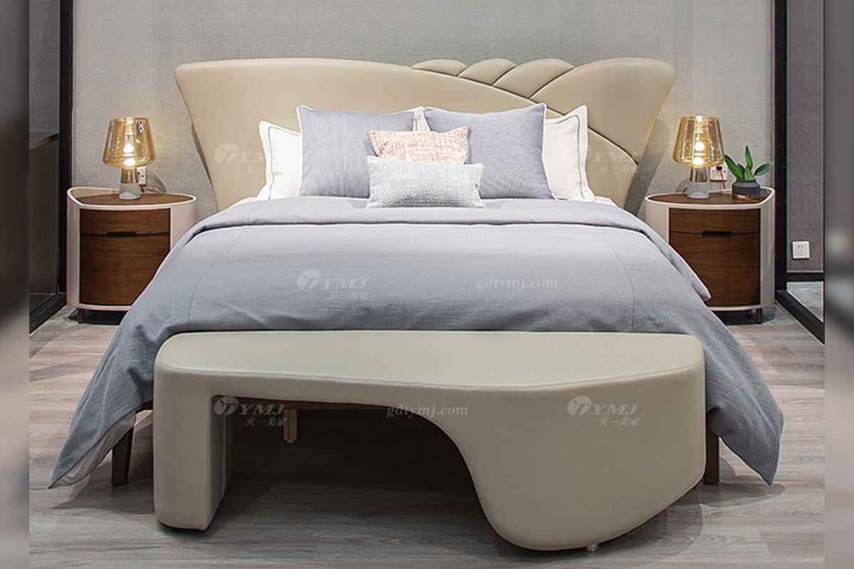 高端别墅会所家具品牌极简轻奢北欧家具时尚创意真皮卧室大床系列