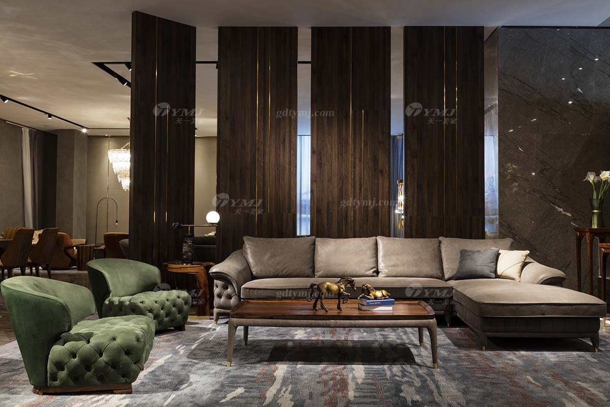 高端豪别墅会所豪宅家具品牌轻奢新中式风客厅高弹高密度海绵时尚转角真皮沙