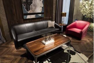 高端别墅会所家具品牌轻奢新中式客厅高弹高密度海绵黑色头层皮沙发系列