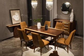 高端别墅会所万博手机网页品牌轻奢新中式风客厅万博手机网页实木餐桌餐椅系列