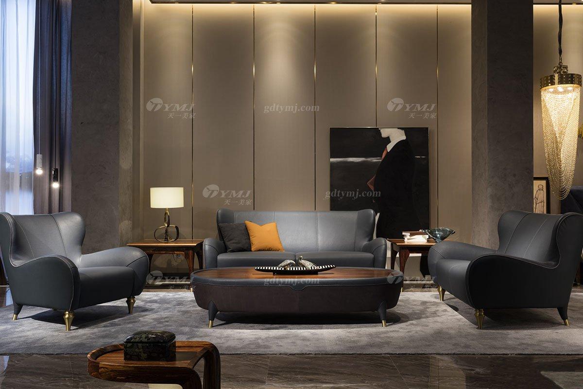 高端别墅会所家具品牌轻奢新中式风客厅高弹高密度海绵时尚黑色头层皮沙发系