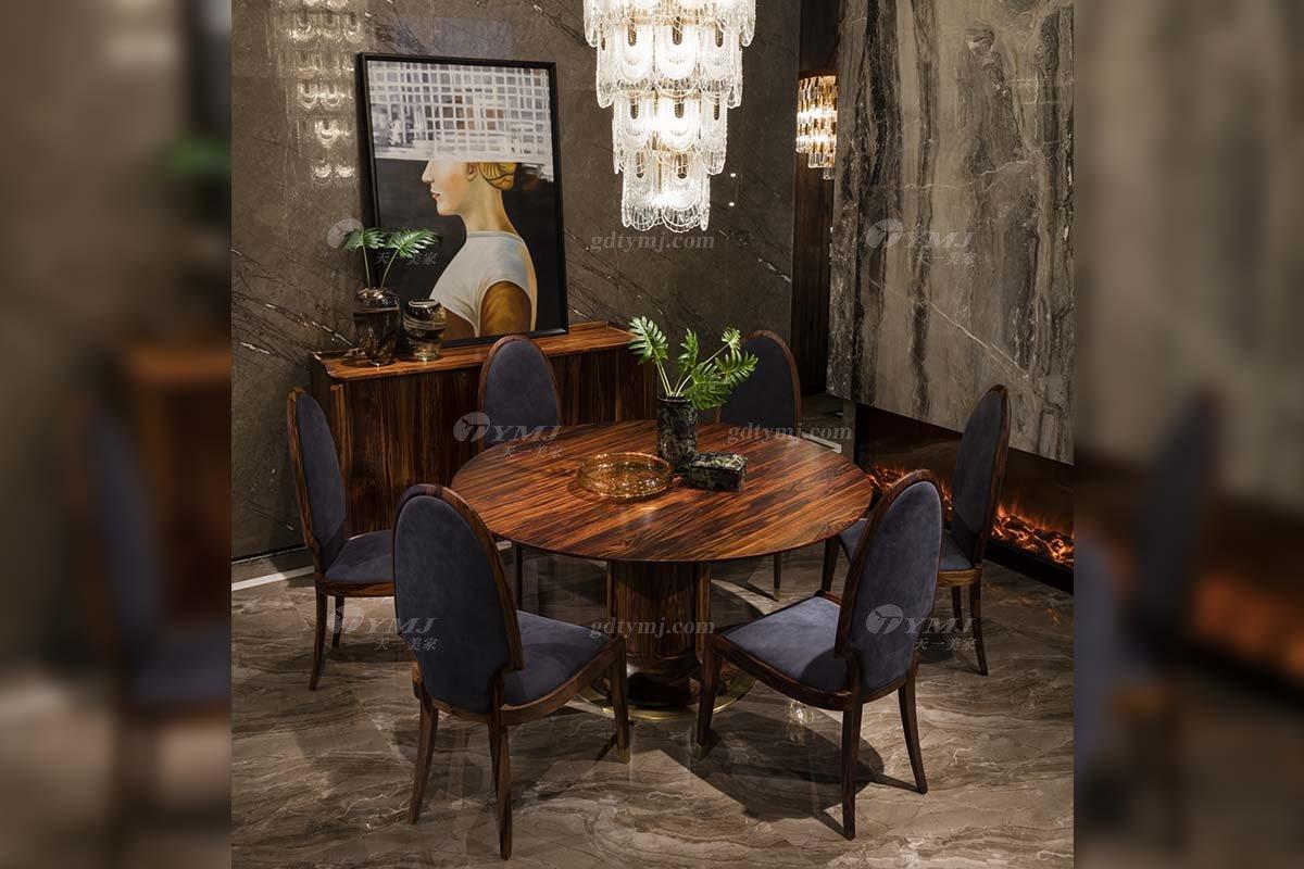 高端豪宅会所万博手机网页品牌轻奢新中式风客厅万博手机网页实木圆餐桌餐椅系列