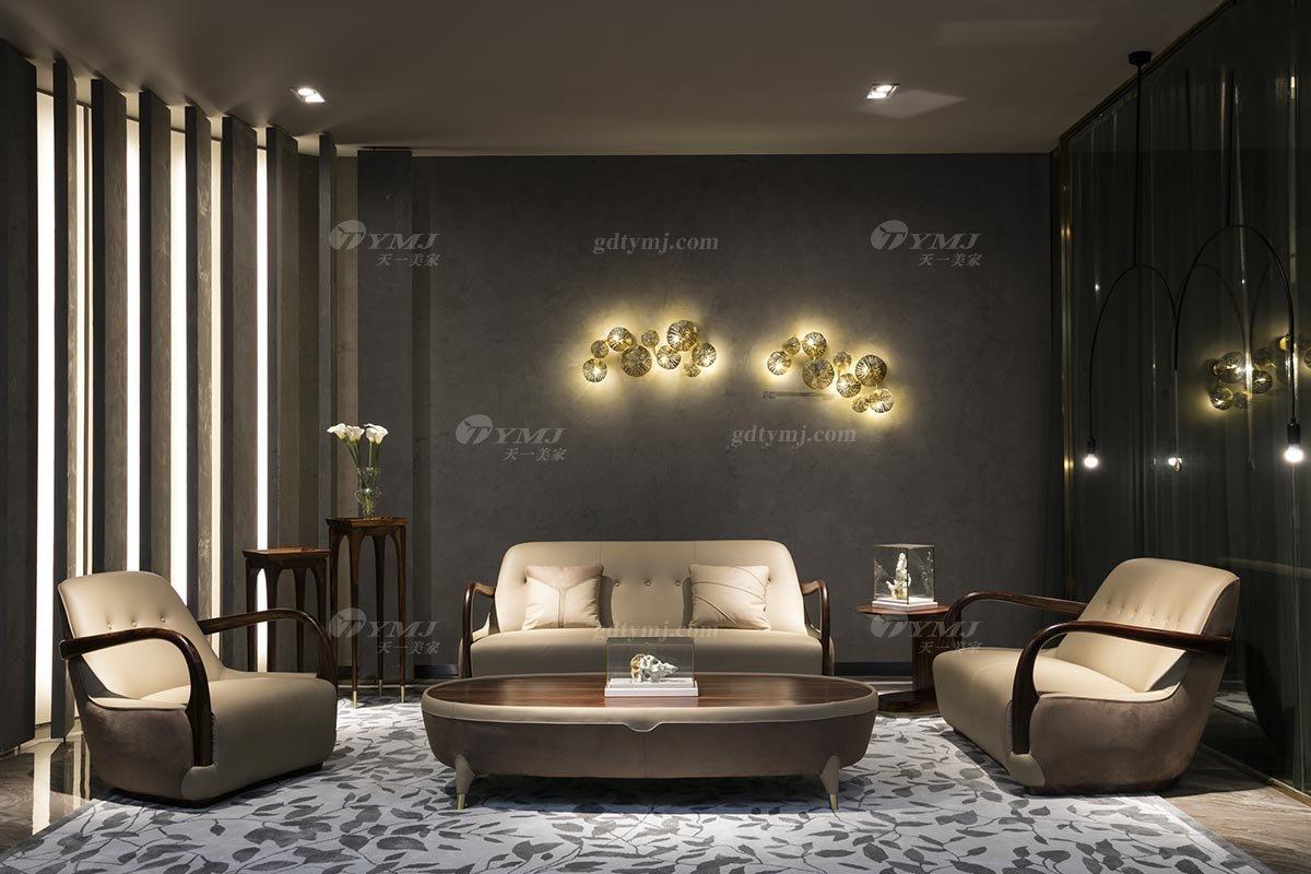 高端豪宅会所家具品牌轻奢新中式风客厅家具高弹高密度海绵真皮沙发系列