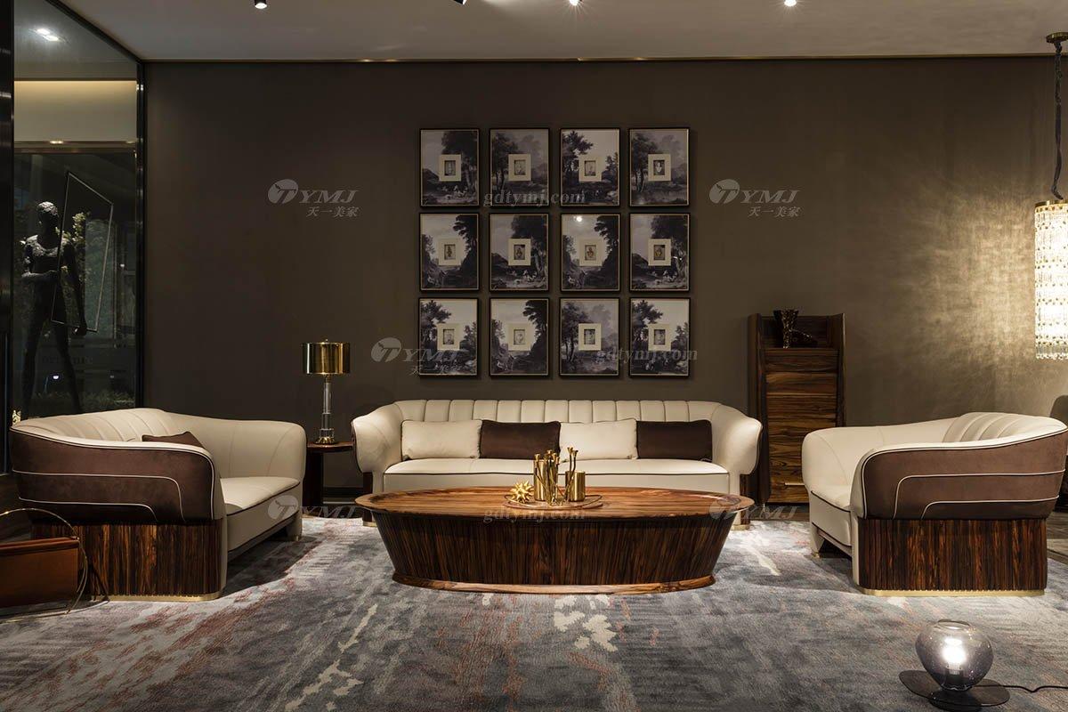 高端豪宅会所家具品牌轻奢新中式风客厅家具高弹高密度海绵实木真皮沙发系列
