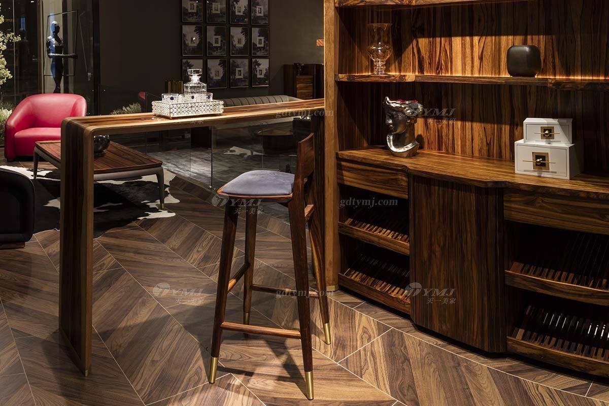 高端豪宅会所家具品牌轻奢新中式风家具时尚实木吧台吧椅系列