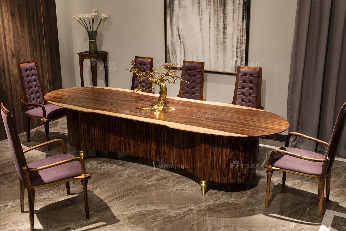 高端豪会所大宅家具品牌轻奢新中式风餐厅家具实木长餐桌餐椅系列