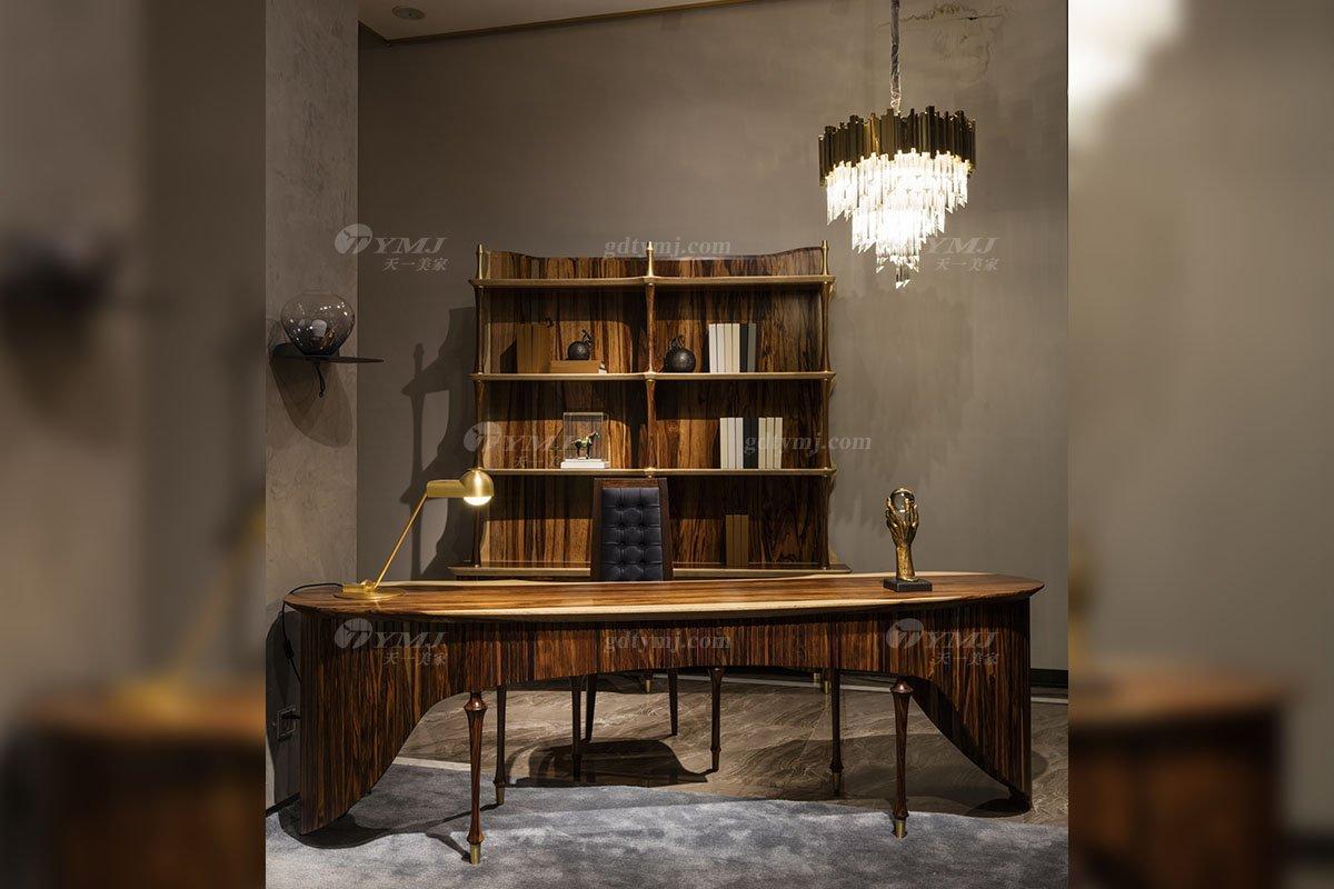 高端豪会所大宅家具品牌轻奢新中式风书房时尚实木书柜书桌系列