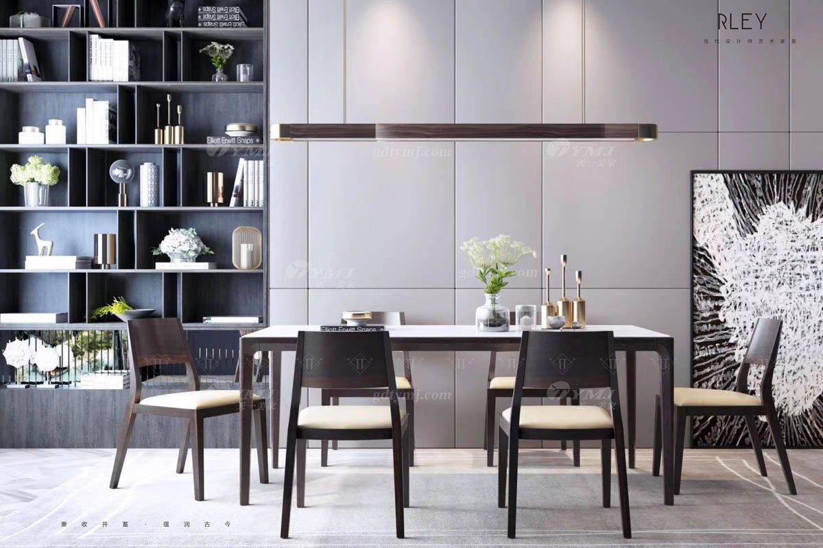 意大利极简别墅会所样板间家具品牌餐厅家具大理石实木餐桌椅