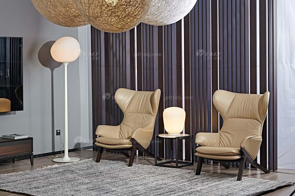 意大利极简风格别墅豪宅家具品牌懒人舒适实木真皮休闲椅