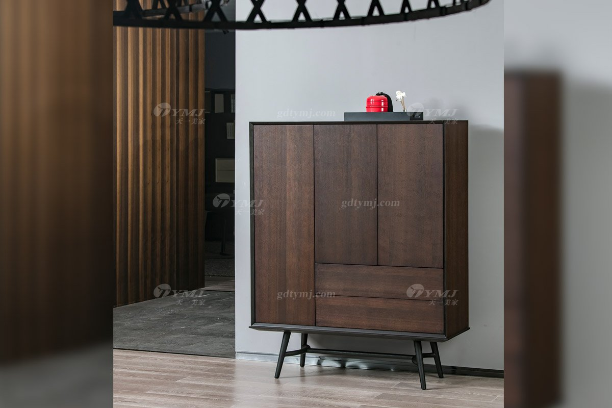 意大利极简风格别墅度假村家具品牌北美进口红橡实木烟熏色多用柜