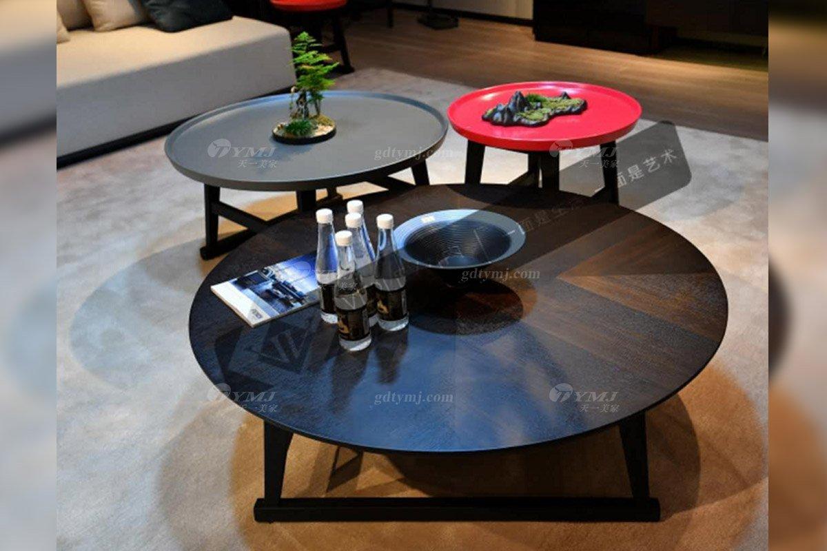 意大利极简高端别墅会所家具品牌北美进口红橡实木烟熏色茶几组合