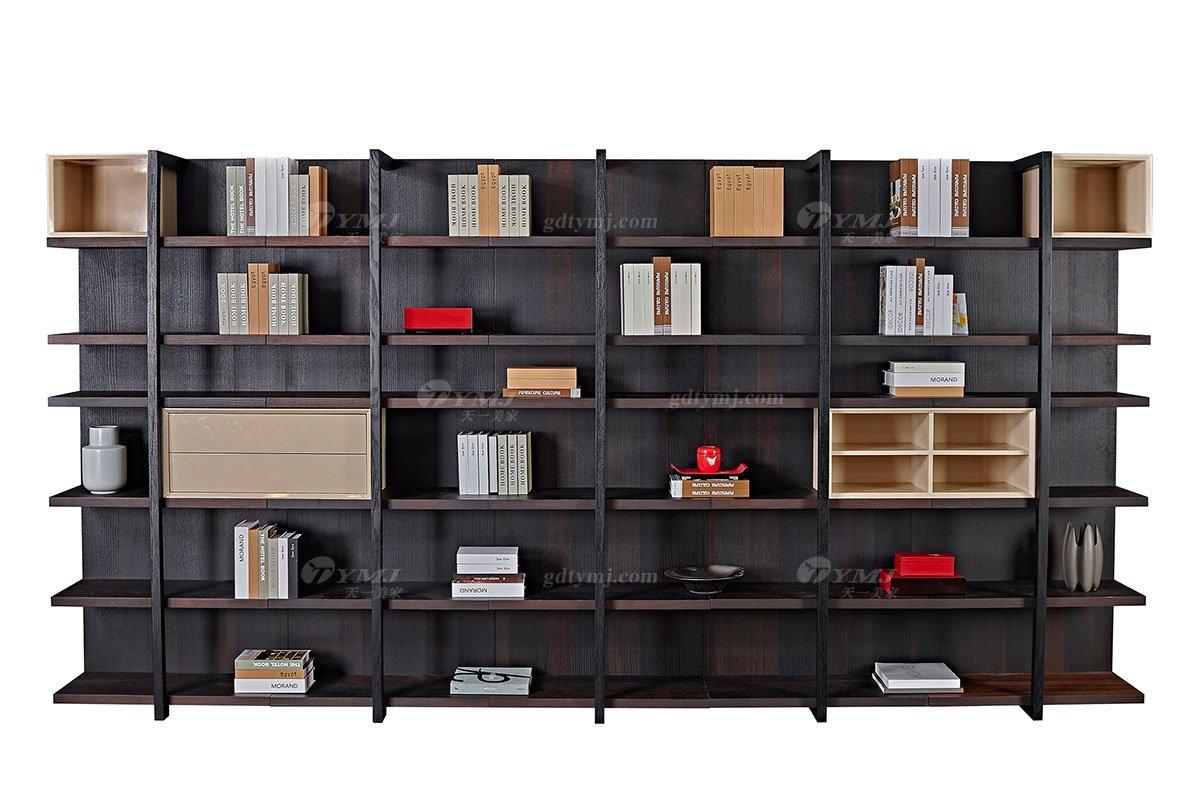 高端大气意式极简别墅会所家具品牌北美进口红橡实木烟熏色超大书柜