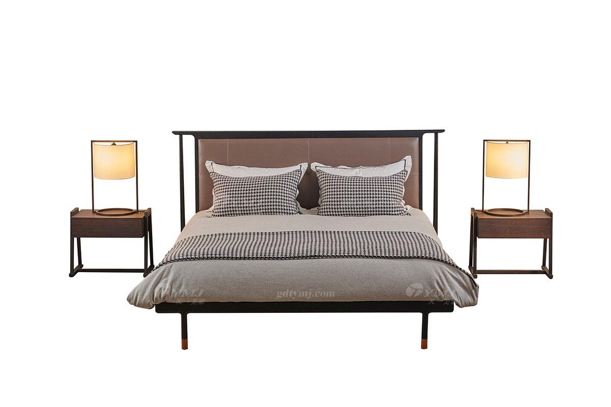 意大利极简风别墅会所品牌高端家具我是北美进口红橡实木大床床头柜组合