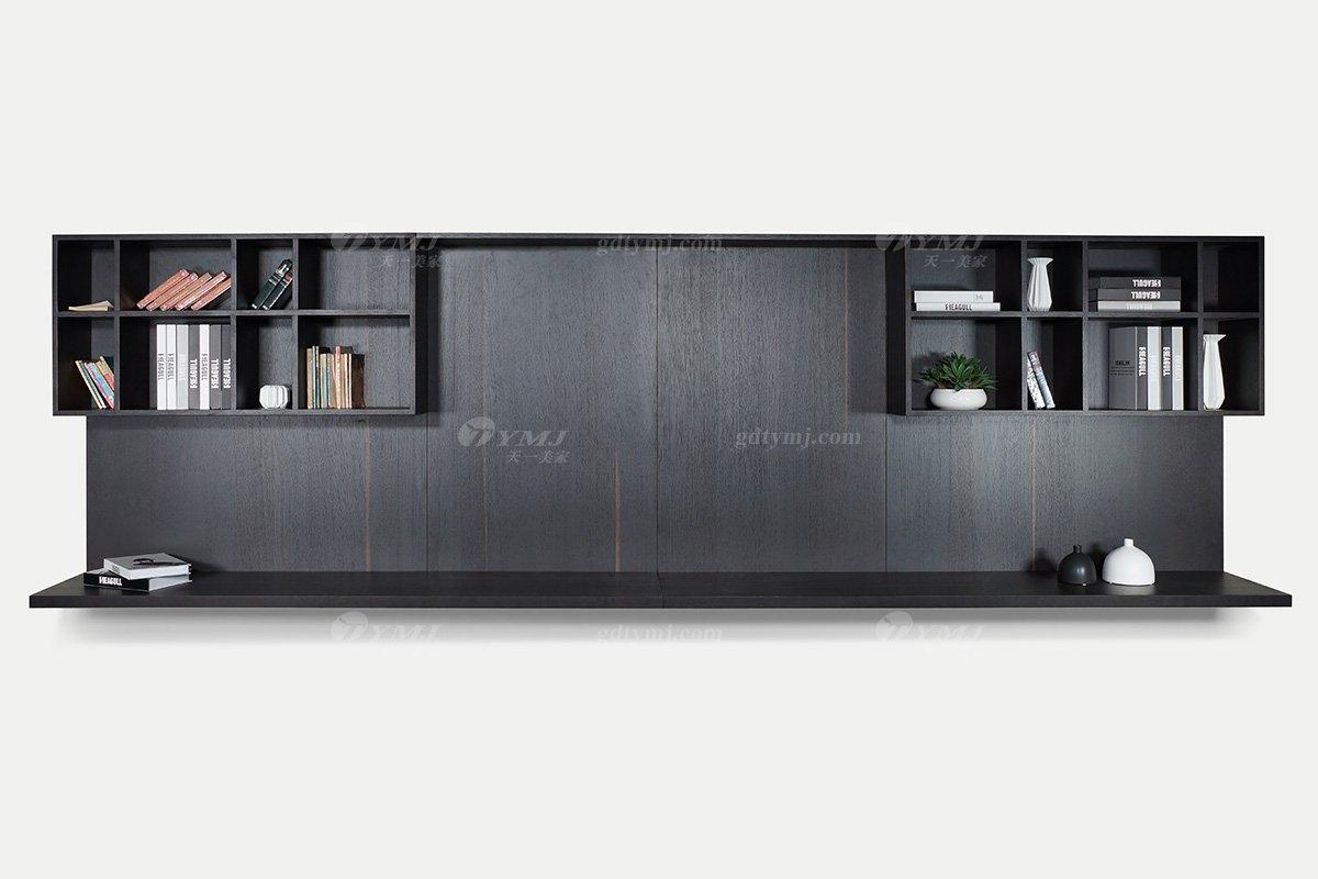 意大利极简风格别墅会所家具品牌客厅固装家具北美进口红橡实木烟熏色电视背