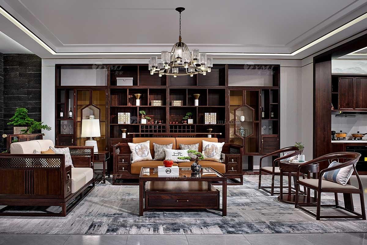 高档别墅会所家具品牌轻奢新中式风格客厅实木沙发单椅组合