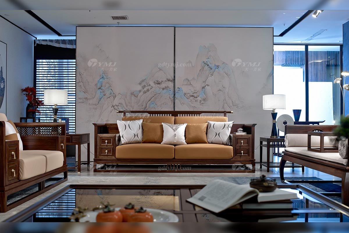 高档别墅会所家具品牌轻奢新中式风格客厅实木沙发单椅组合三位沙发