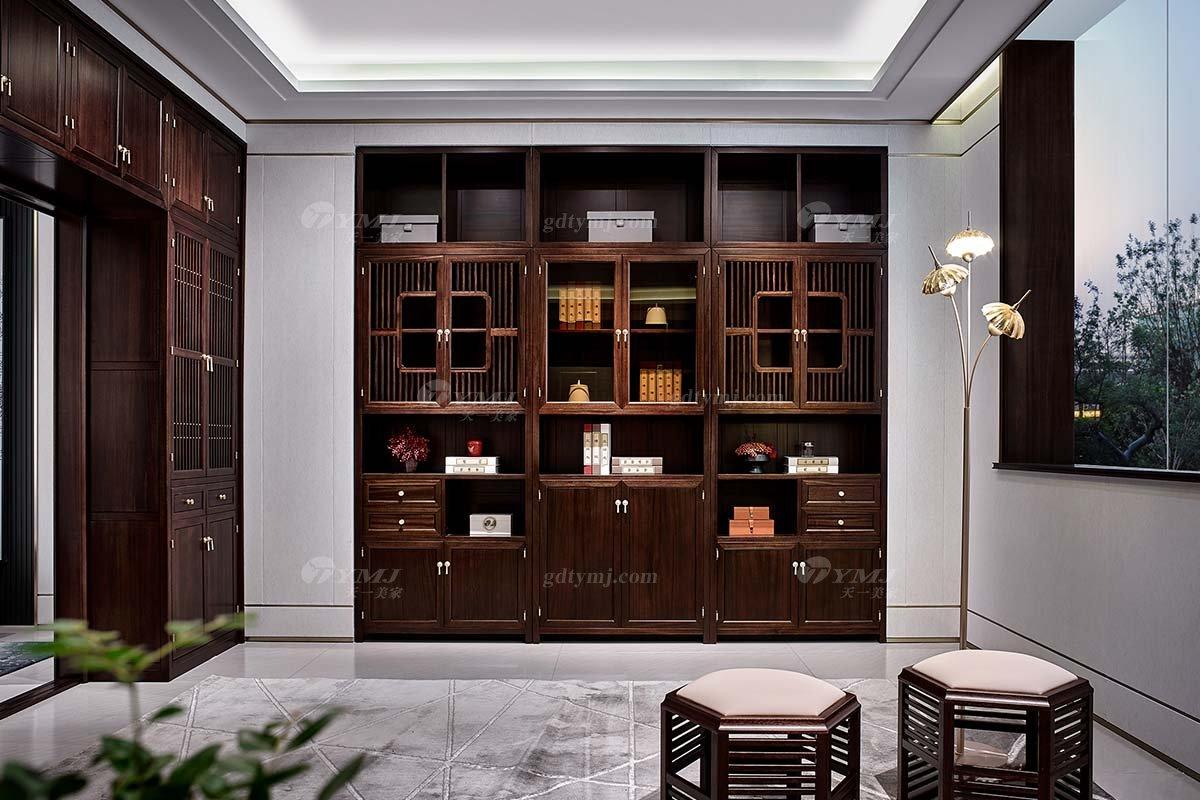 高档会所别墅家具品牌轻奢新中式风格书房家具实木书柜