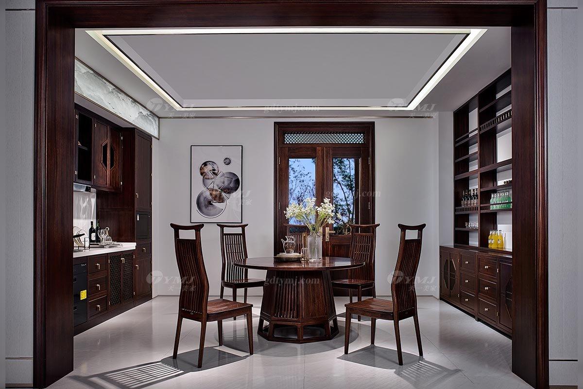 高端别墅会所家具品牌轻奢新中式风格餐厅实木餐桌餐椅组合