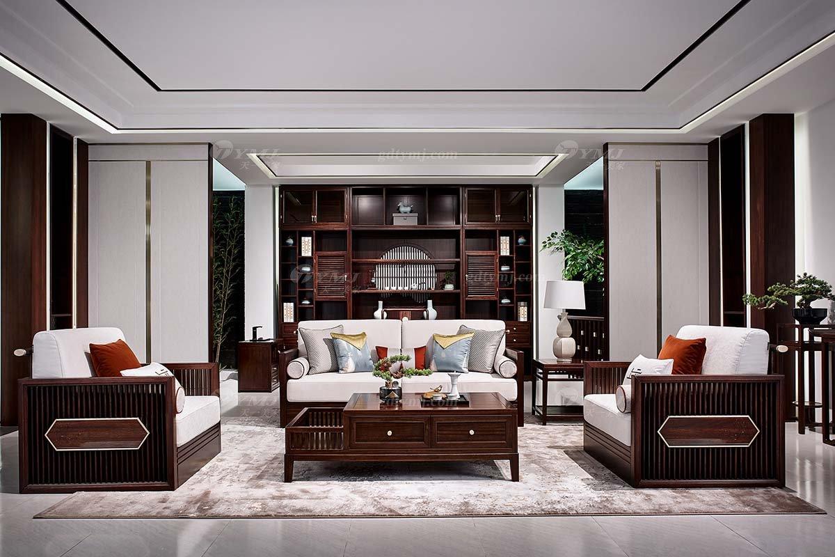高档别墅会所家具品牌轻奢新中式时尚客厅家具实木沙发组合