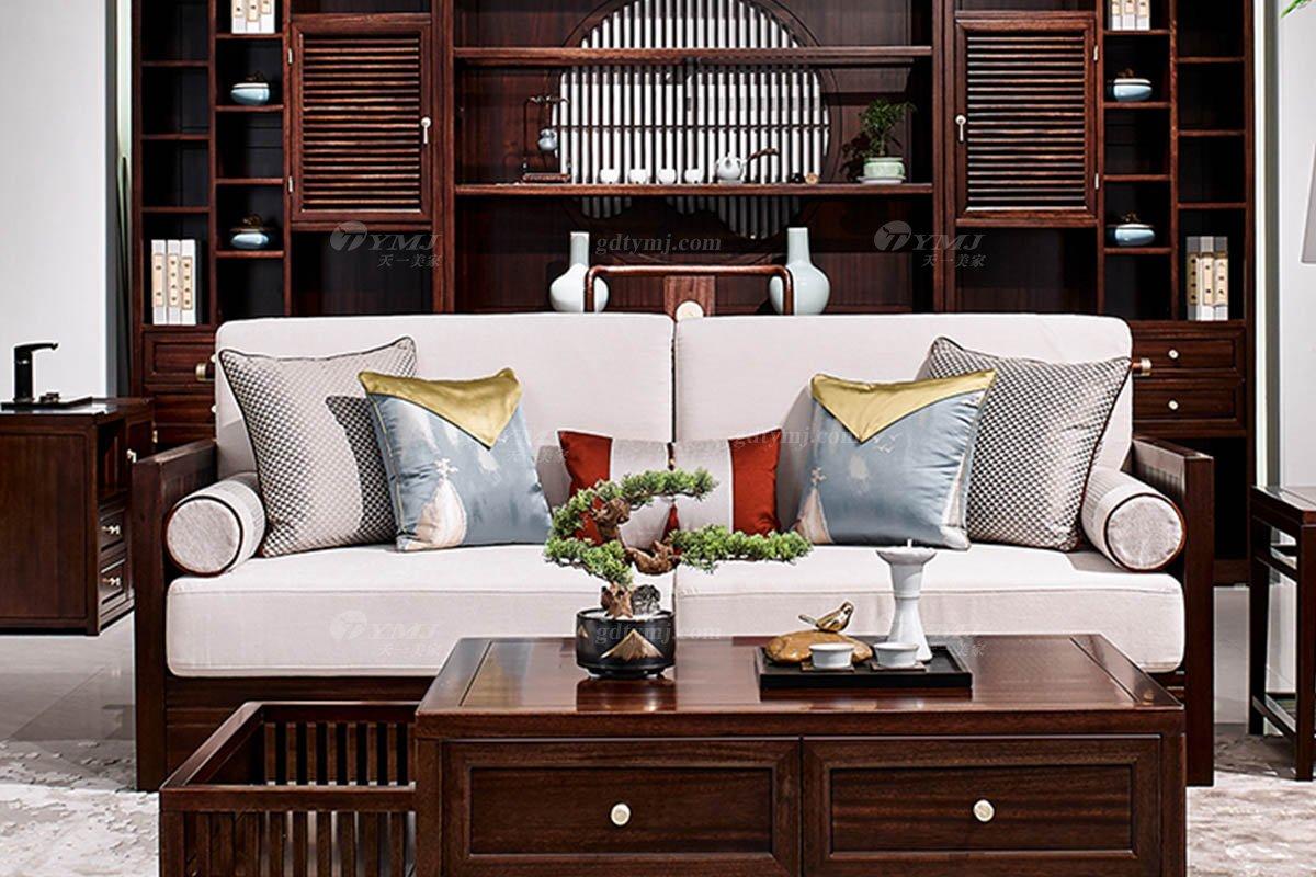 高档别墅会所家具品牌轻奢新中式时尚客厅家具实木沙发组合三位沙发