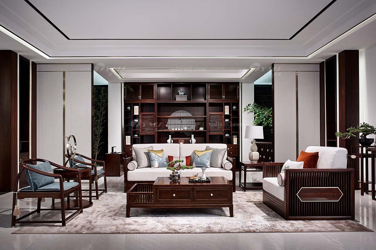 高档别墅会所家具品牌轻奢新中式时尚客厅家具实木沙发组合客厅家具组合
