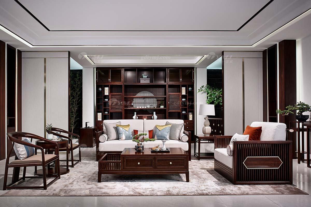 高档别墅会所家具品牌轻奢新中式时尚客厅家具实木沙发组合客厅组合沙发