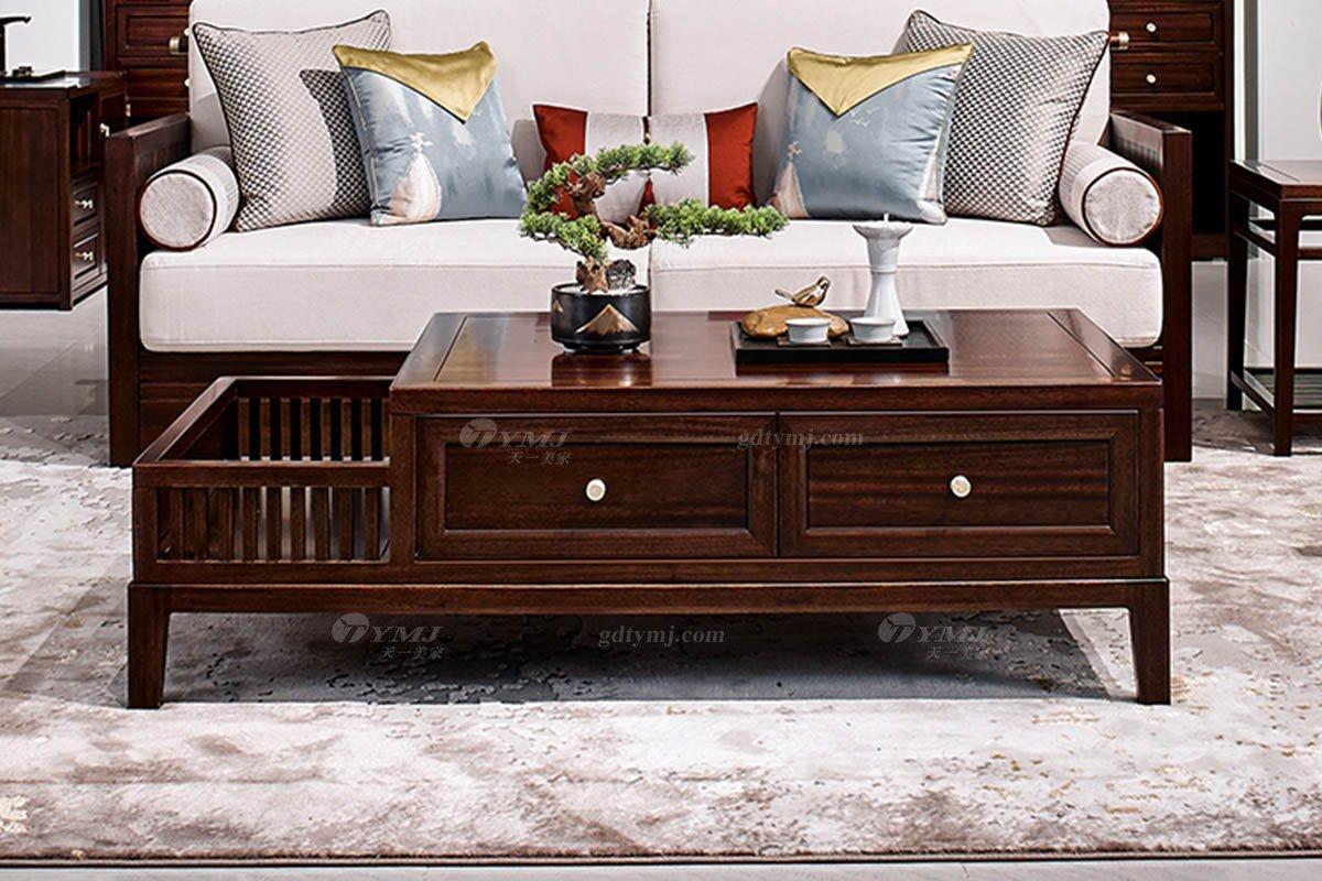 高档别墅会所家具品牌轻奢新中式时尚客厅家具实木沙发组合茶几