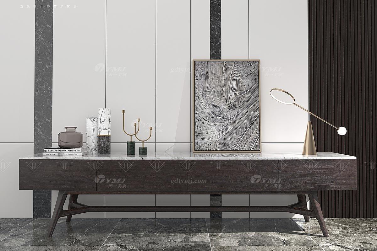 高端别墅会所家具品牌大气简约意式极简风格客厅实木家具大地柜