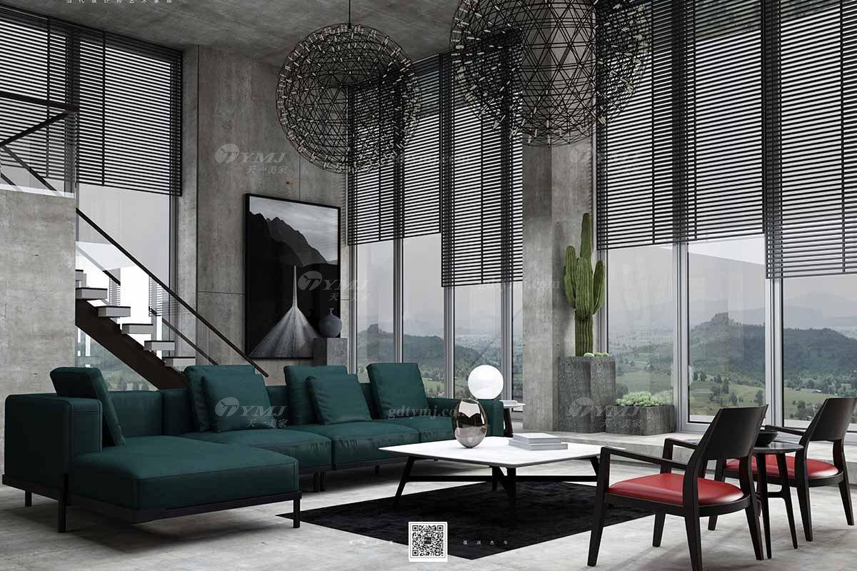 别墅大宅家具品牌会所家具意大利极简私宅家用客厅家具墨绿色转角沙发组合