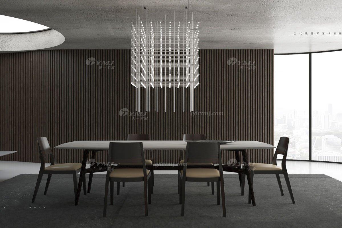 意大利极简风格别墅休闲会所品牌家具餐厅大理石餐桌椅组合