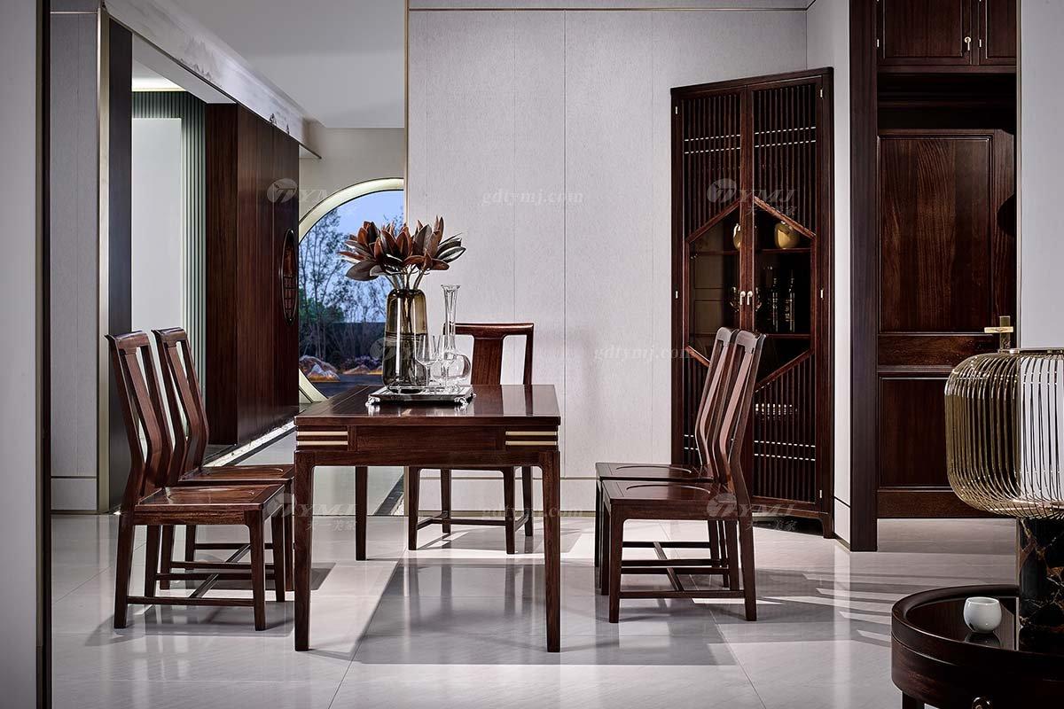 高档大气会所别墅家具品牌轻奢新中式风格餐厅家具实木餐桌椅