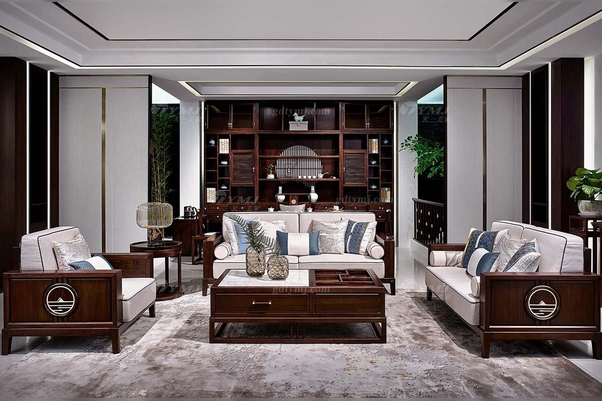 高档别墅会所家具品牌轻奢新中式客厅家具实木布艺沙发组合系列