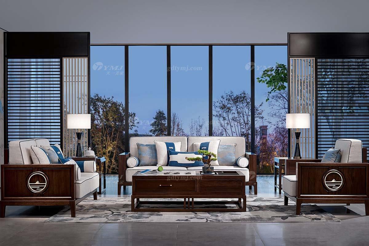 高档别墅会所万博手机网页品牌轻奢新中式客厅万博手机网页实木布艺沙发组合系列沙发组合