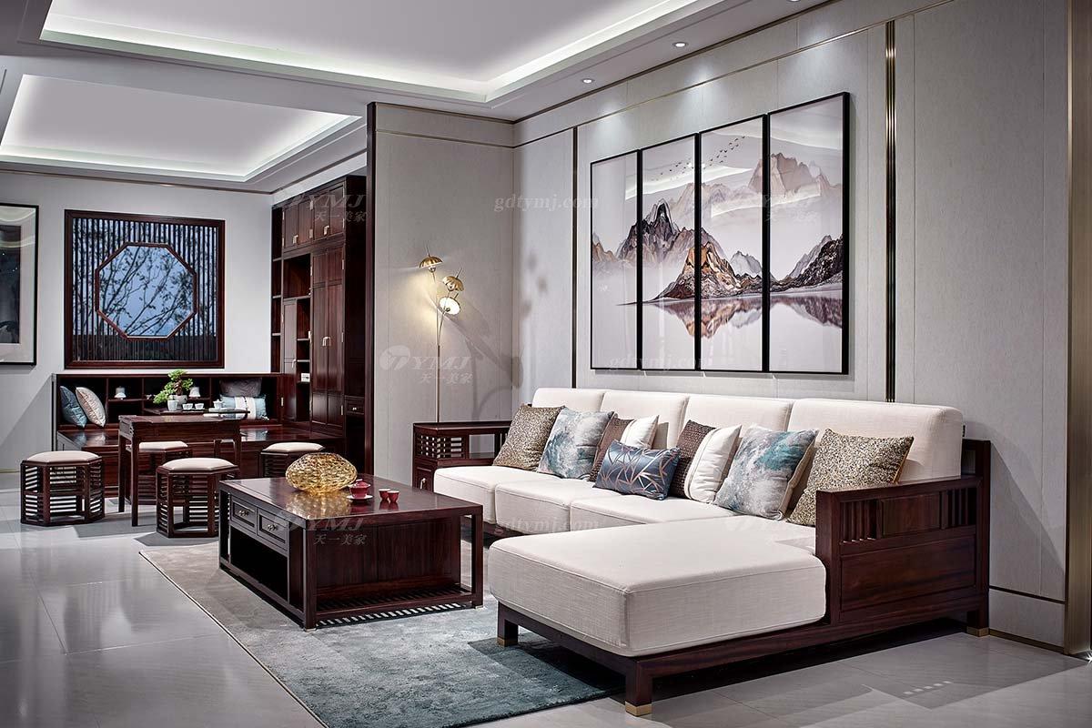 高档别墅豪宅会所家具品牌轻奢新中式客厅家具实木转角沙发
