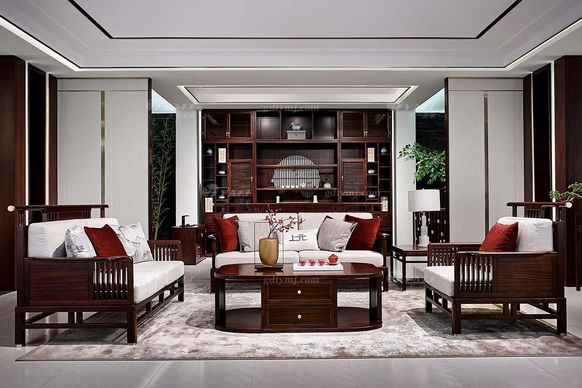 轻奢新中式高档别墅豪宅会所家具品牌客厅家具实木客厅沙发组合
